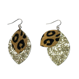 Leopard and Glitter Layered Earrings, Gold