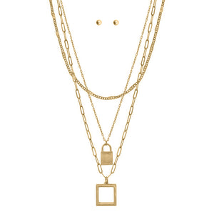 Lock & Square Pendant, Layered Paper Clip Chain Necklace Set, Gold