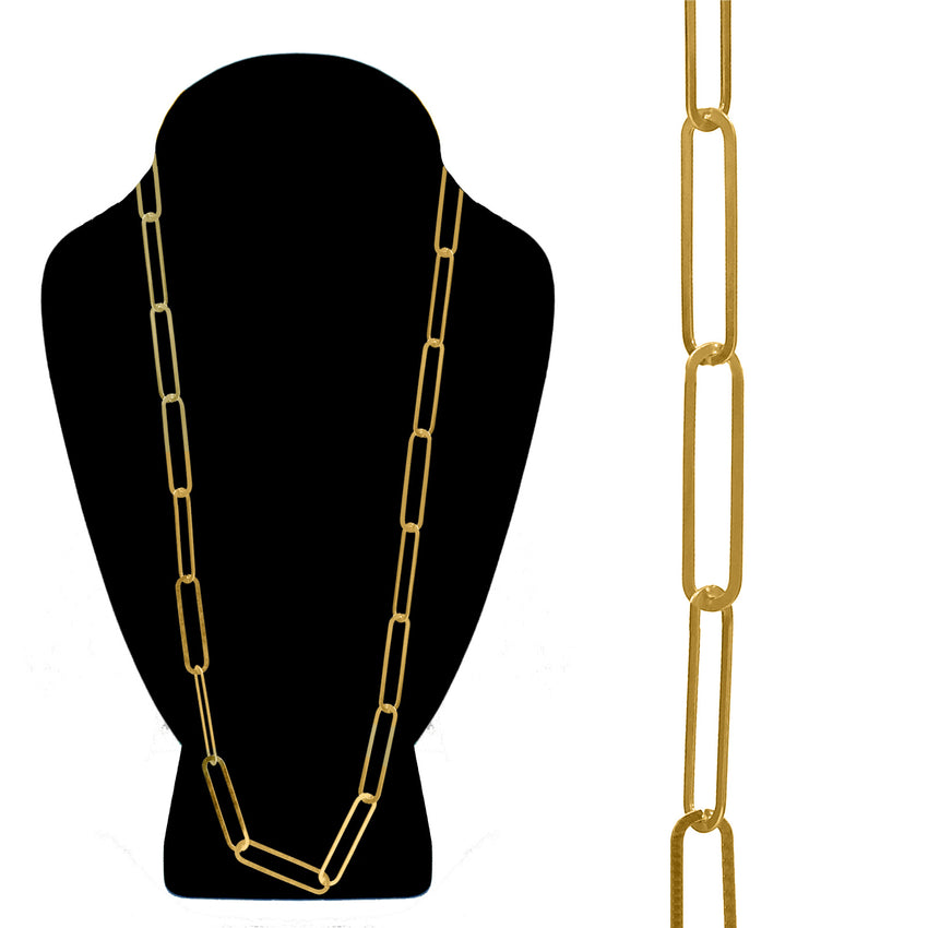 Paper Clip Link Chain Long Necklace, Gold