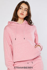 Fleece Pullover Hoodie, Strawberry