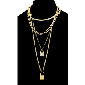 4 Layer Metal Lock w/Paper Clip Link Chain Necklace, Gold