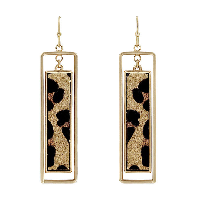 Leopard Fur Rectangle Earrings