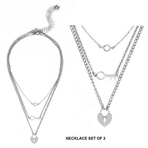 Heart Lock, Key, Glass Pendant, 3 Piece Necklace Set