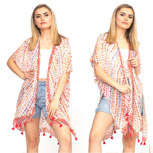 Multi Dash Pattern Tassel Kimono, Orange