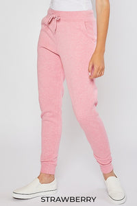 Fleece Drawstring Joggers, Strawberry