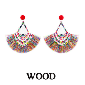 Thread Tassel Printed Wooden Earrings, Multi Color