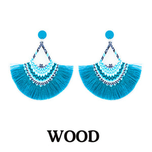 Thread Tassel Printed Wooden Earrings, Blue
