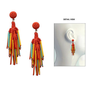 Seed Bead Drop Earrings, Coral