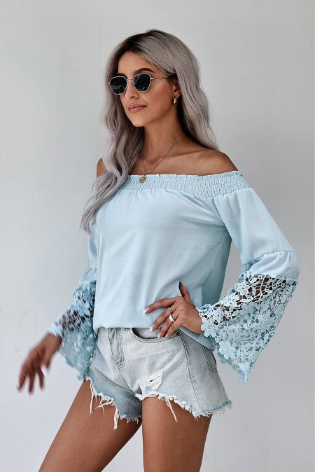 Off the Shoulder Lace Bell Sleeve Top