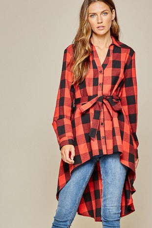 High Low Flannel Plaid Top