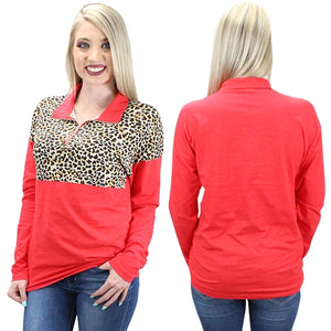 Leopard Pull Over with Zipper, Red