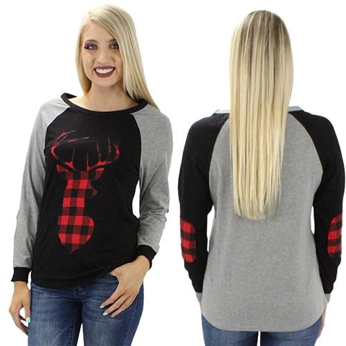 Buffalo Plaid Deer Top with Elbow Patches