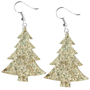 Christmas Tree Earrings, Gold