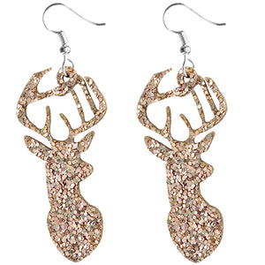 Deer Earrings, Rose Gold