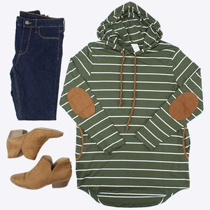 Striped Hoodie with Elbow Patches, Olive