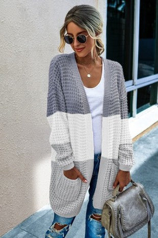 Colorblock Cardigan, Grey