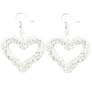 Heart Crystal Beaded Earrings, Silver