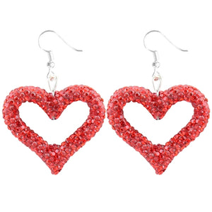 Heart Crystal Beaded Earrings, Red
