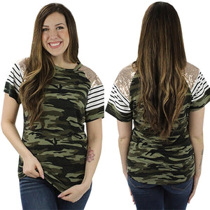 Stripes and Sequin Camouflage Top