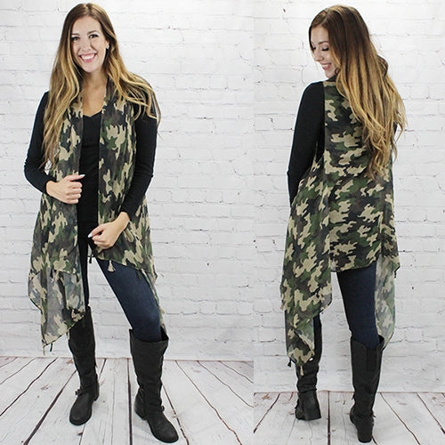 Camouflage Vest With Tassels
