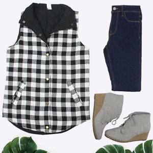 Buffalo Plaid Reversible Vest, Black and White