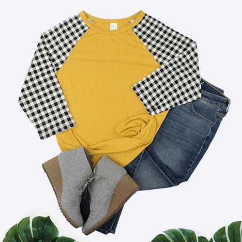 Plaid Sleeves Raglan, Mustard