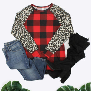 Buffalo Plaid Top with Leopard Sleeves