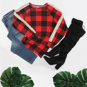 Buffalo Plaid Top with Sequins