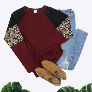 Lace and Leopard Long Sleeve Top, Maroon