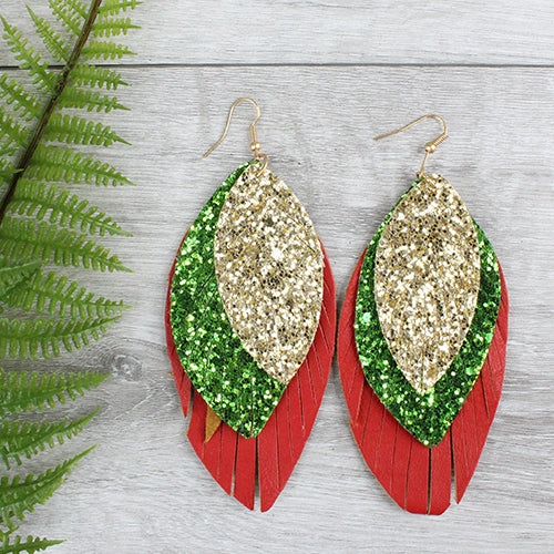 Glitter Earrings, Red and Green