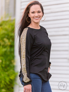 Gold Sequin Top, Black