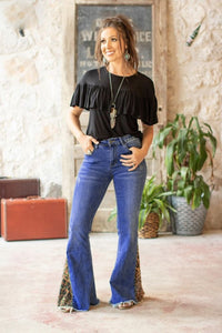 Mid Wash Flare Jeans With Leopard