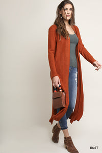 Knitted Long Cardigan with Side Slits, Rust