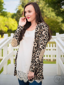 Leopard Cardigan with Sequin Elbow Patches