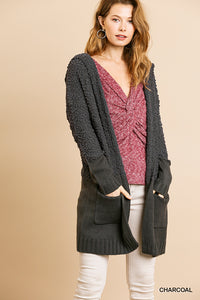 Hooded Popcorn Cardigan, Charcoal