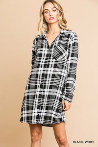 Plaid Long Sleeve Button Front Collared Dress with Chest Pocket