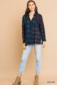 Mixed Plaid Button Up Top, Navy Mix