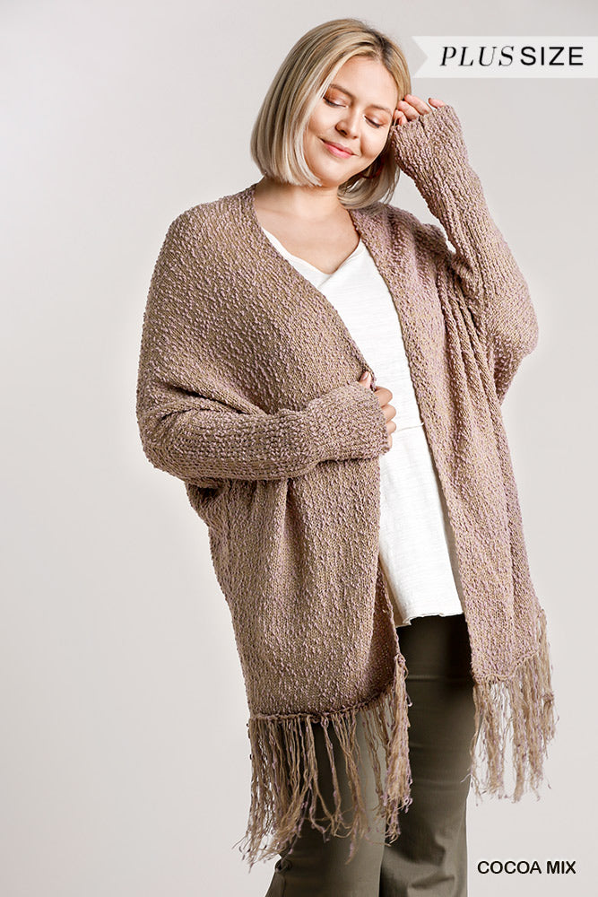 Cardigan Sweater with Fringe Hem, Cocoa