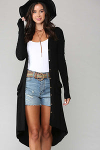 Long Sleeve Buttoned Knit Cardigan, Black