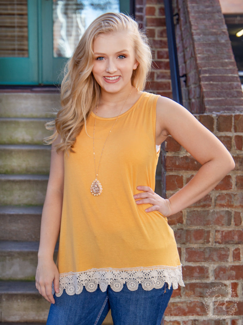 Over the Moon Tank with Detailed Lace Trim, Mustard