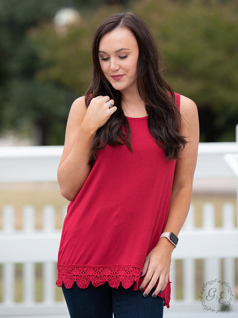 Over the Moon Tank with Detailed Lace Trim, Red