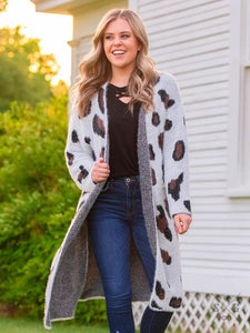 Snow Leopard Mohair Cardigan with Pockets