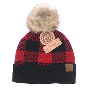 CC Buffalo Plaid Beanie With Pom