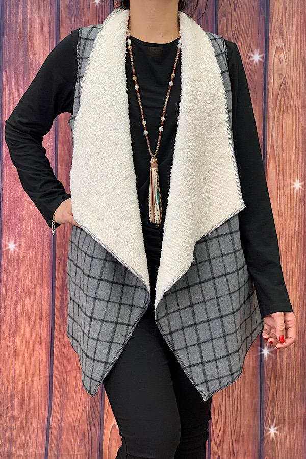 Grey and Black Plaid Sherpa Lined Vest