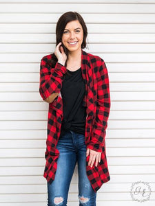 Buffalo Plaid Cardigan with Elbow Patches, Red