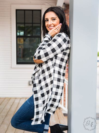 Buffalo Plaid Cardigan with Elbow Patches-White/Black