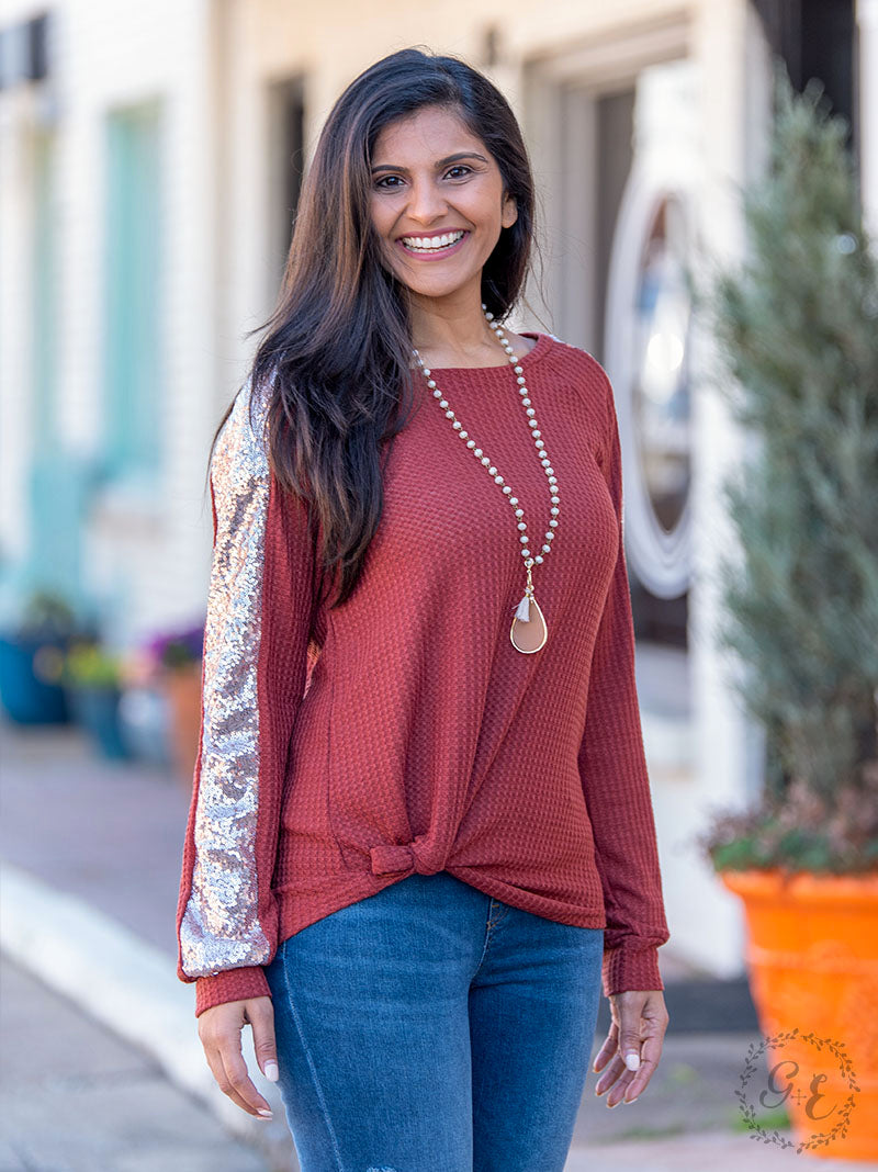 Rose Gold Sequin Top, Rust