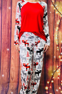 Moose Print Pajama Set