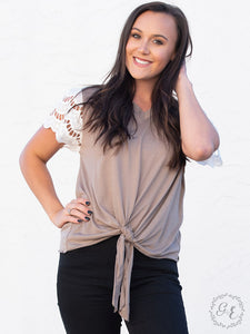 Stick With Me Eyelet Top with Front Tie, Taupe