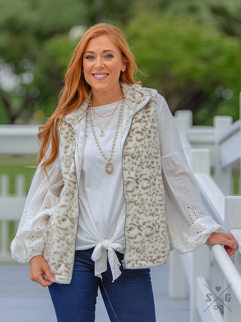 Lux Leopard Vest with Pockets